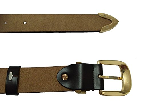 HAPPYTIMEBELT Women's Genuine Leather Belt with Gold Plated Buckle Easy to Adjust the Length(Black-S)