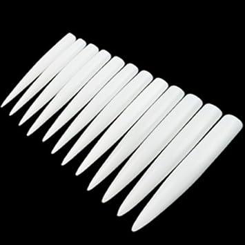 enForten 120pcs Clear Long Sharp Stiletto Fake Nail Tips False Nail Art Tip Manicure Etopsell