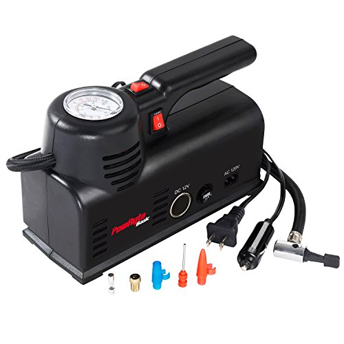 PowRyte 120PSI Dial Tire Inflator- Portable Air Compressor Powered 12V DC or 120V AC