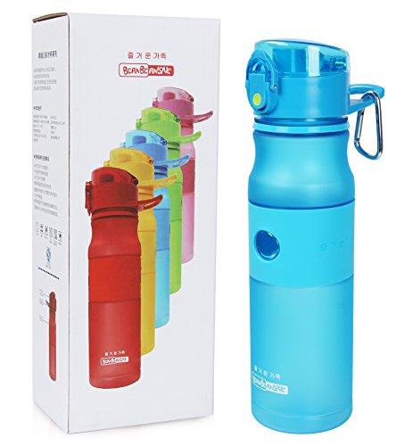Vshow Best Sports Water Bottle 30oz 800ml Large, Travel Mug Fruit Infuser bottles BPA-Free, One-Click Open,Leak-Proof,Secured & Locking Lid,Wide Mouth for Sports Yoga Camping Biking & Jogging-Blue