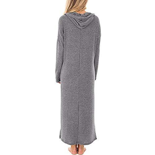 Landfox Maxi Dress, Casual Pockets Dresses,Dress for Women Split Hooded Solid Long Maxi Dress Gray from Landfox