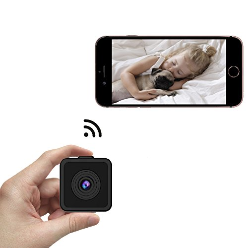Kaisio Small Wifi Spy Camera with Wide Viewing Angle, 16.5 Feet Night Vision, Sensitive Motion Detector, 720p HD Hidden Cam for Home Security Office (Support 64G SD Card)