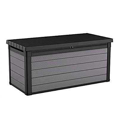 Premier Deck Box 150 Gallon | Resin Outdoor Storage for Patio Garden Furniture Container | Black/Gray