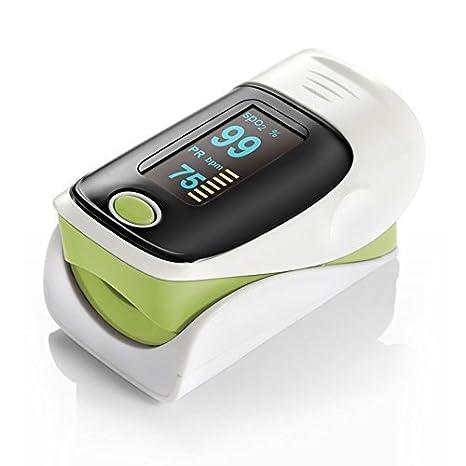 QUMOX Pulso Dedo Oxigeno Pulsioximetro Pulse Oximeter Pulsómetros Oximetro Verde: Amazon.es: Deportes y aire libre