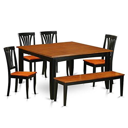 East West Furniture PFAV6-BCH-W 6 Piece Kitchen Tables and 4 Solid Wood Chairs Plus Bench Set