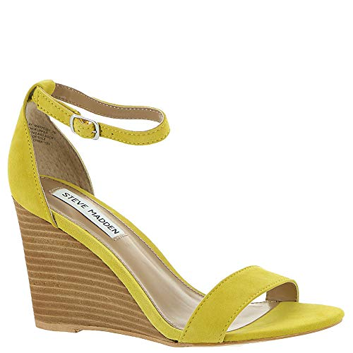 Steve Madden Women's Mary Wedge Sandal Yellow Suede 7.5 M - 4 Wedge Inch Shoes