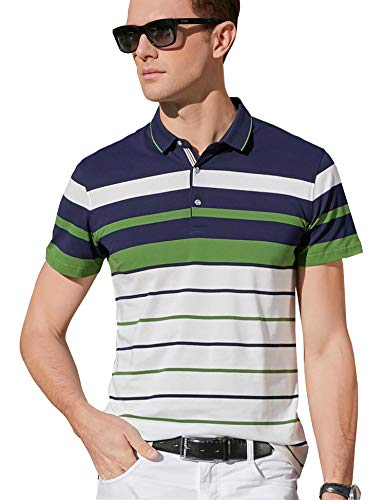 XTAPAN Men's Short Sleeve Polo Shirt Casual Striped Polo Golf T Shirt Tag 2XL 8059 Green