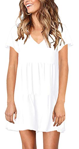 (PinUp Angel White Women's Short Sleeve Tunic Dress V Neck Loose Flowy Swing Shift Dress )