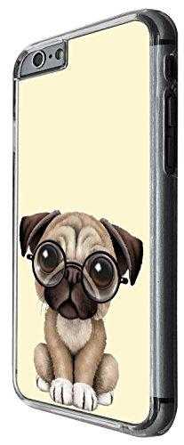 1512 - Cool Fun Trendy Cute dog pug reading glasses pets collage animals Design iphone 4 4S Coque Fashion Trend Case Coque Protection Cover plastique et métal - Clear