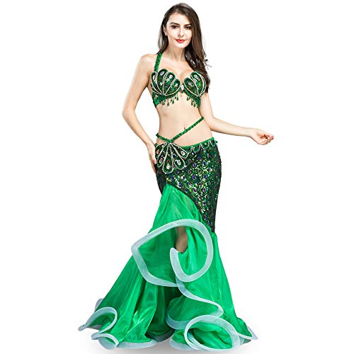 ROYAL SMEELA Belly Dance Costume Women Belly Dancing Skirts and Bra Fishtail Mermaid Skirt Professional Performance Clothing Green