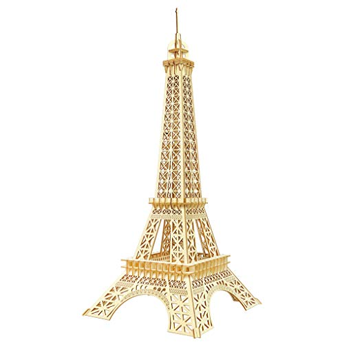 Bitopbi 3D Wooden Puzzles Laser Engraving DIY Safe Assembly Constructor Kit Toy for Kids Teens and Adults, World Famous Buildings Mechanical 3-D Models for Self-Assembly (C1 Eiffel Tower)