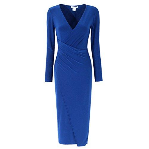 GAOLIM Vestido Plisado con Cuello En V Plisado De Primavera Y Verano De Gran Tamaño C286,8 Busto 84-90, Azul Zafiro
