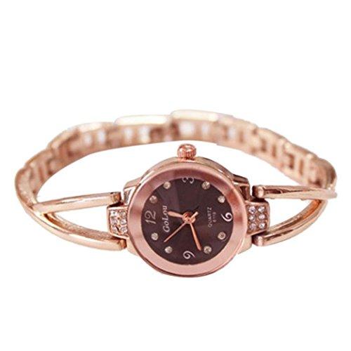 Women Rose Gold Plated Alloy Rhinestone Dial Bracelet Wrist Watch Gift Gold - 9