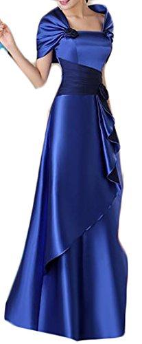 Jaycargogo Mince Épaule Large À Manches Longues Vintage Femmes Robe Maxi Formelle Bleu Foncé