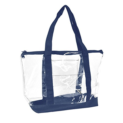 DALIX Clear Shopping Bag Security Work Tote Shoulder Bag Womens Handbag (Navy Blue) by DALIX (Image #2)