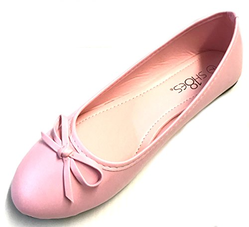 New Womens Ballerina Ballet Flats Shoes Leopard & Solids 12 colors (9, Pink 8500) - Pink Ballet Flats