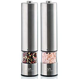 Electric Salt and Pepper Grinder Set – Battery Operated Stainless Steel Mill with Light (Pack of 2 Mills) – Automatic…