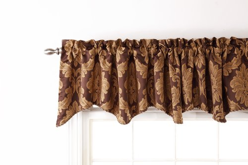 (Stylemaster Renaissance Home Fashion Darby Scalloped Valance with Cording, 90 by 17-Inch, Café )