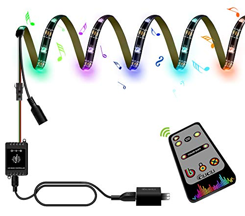 LED Rainbow Light,USB and Battery Box Power Supply, Music sync Light bar, LED Rope Light Chase Effect, 360 Degree Signal Accept RF Remote Control (Rainbow-Power Supply-2.5m/8.2 ft)