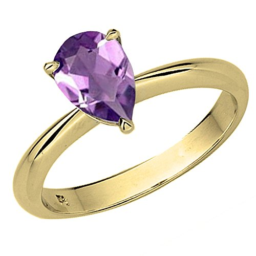Dazzlingrock Collection 10K 9X7mm Pear Cut Amethyst Solitaire Bridal Engagement Ring, Yellow Gold, Size 10 ()