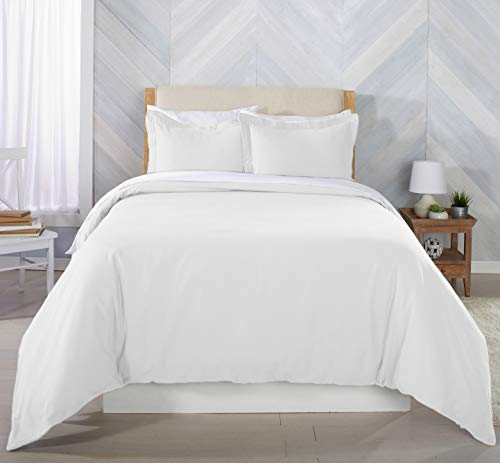 Great Bay Home Extra Soft Flannel Duvet Cover with Button Closure. 100% Turkish Cotton 3-Piece Set with Pillow Shams. Nordic Collection (Twin, Winter White)