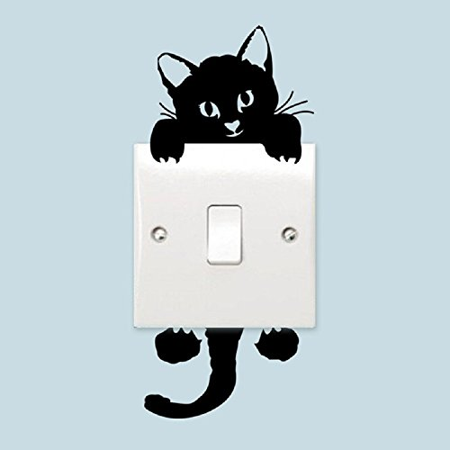 Set of 5 (Five) Peel and Stick Cat/Feline Decal Wall Stickers, Wall Decal Light Switch Decor Decals For Baby Nursery Room, Kids Room or Home ()