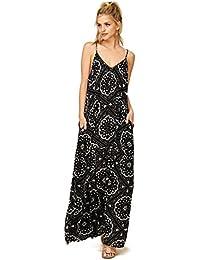 Womens Elena - Tribal Floral Pattern Spaghetti Strap Maxi Dress