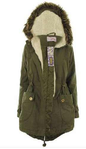 WOMENS LADIES QUALITY FISHTAIL HOODED PARKA COAT KHAKI & WINE SIZE ...