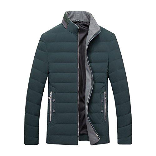 Uomini Bianco Collare Cappotto Moda Il Qualità Luotianlang Scuro Invernale Casuale Verde Verso Basso Giacca Degli qrqzfO8xw