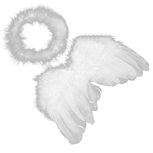 Baby Infant Feather Angel Wings Halo Baby Cupid Cosplay Photography Props Costumes Kit for 0-6 Months (Baby Cupid Wings Costumes)