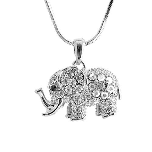 Spinningdaisy Silver Crystal Elephant Necklace