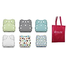 Thirsties Newborn All in One Snap Cloth Diaper - 6 Pack Gender Neutral Colors with Dainty Baby Reusable Bag Bundle