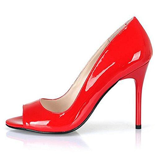 LLP Femmes Sandales Talon Red de Femmes Ouvert Bouche des Bout Chaussures Simples Haut Shallow Sandales de Poisson Professionnelles de Chaussures 12cm Bouche ppcrP5W