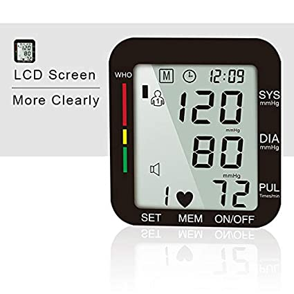 Expower Digital muñeca - Tensiómetro con pantalla LCD ligero y portátil Tensiómetro electrónica EW-1510 sangre Impresión de la seguridad universal: ...