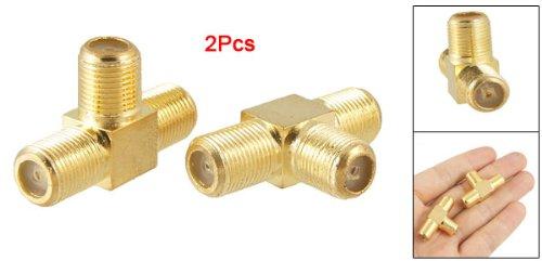 2pcs F Female to 2x F female Jack RF Adapter Connector 3 Way Splitter