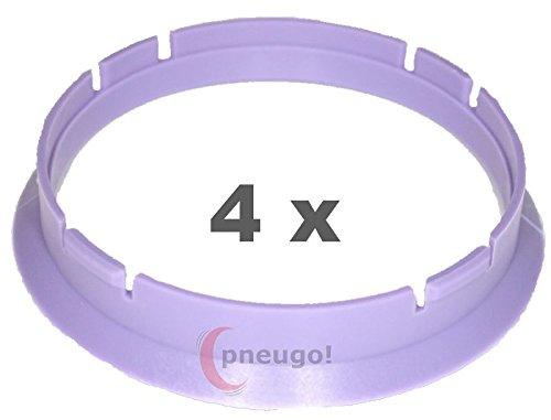 4/x Bague de Centrage plastique 70.0/mm vers 66.6/mm Violet