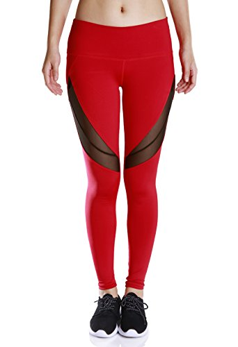 Fengtre Women Active Workout High-Waist Yoga Pant,Mesh Stretchy Capri Leggings,Red