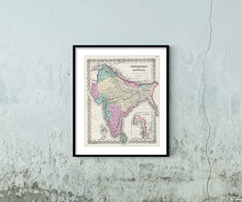 1856 Colton of India Map|Historic Antique Vintage Reprint|Size: 20x24|Ready to Frame