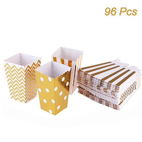 Creatiee 96pc Mini Popcorn Boxes, Cardboard Candy Containers for Birthday, Bridal and Baby Shower, All Parties & Events - Random Patterns(Gold)