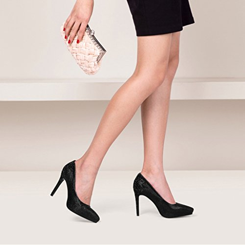 Schuhe Schuhe Schwarz End mit wasserdichte UK3 Frauen MUMA mit Damenschuhe 5 High neue EU36 hohen Farbe Frühling wasserdichte Heels CN35 Strass Pumps High Plattform größe Absätzen qpR768w