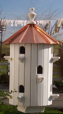 10 Hole Bird House Low roof Copper top XLarge 26 inches TALL Amish Made in US by Willow Run Collection
