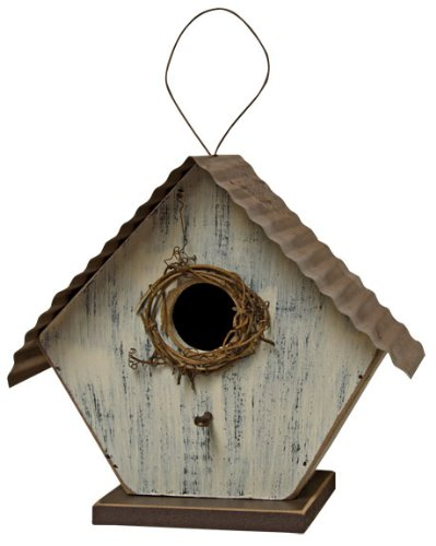 CWI Gifts Wood Birdhouse, 6-Inch, Antique White by CWI Gifts