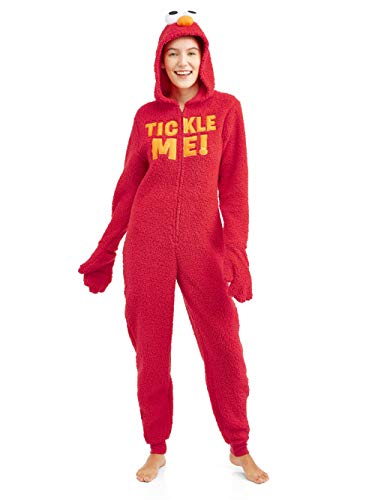 Sesame Street Women's Licensed Sleepwear Adult Costume Union Suit Pajama (XS-3X) Elmo XXL