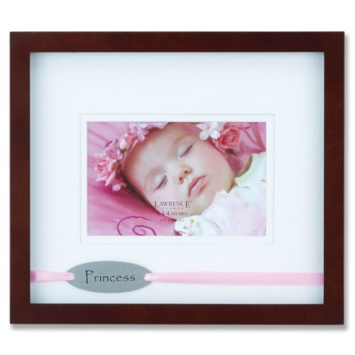Lawrence Frames Brown Princess 4 by 6-Inch Picture Frame, Satin Pink Ribbon Design