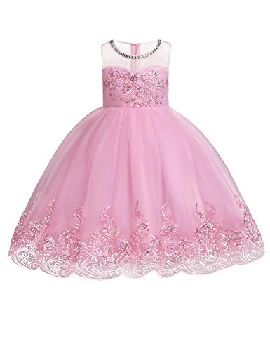 - JOYMOM Cute Dresses for Girls, Kids Overlaid Lace and Tulle Curve Hem Beaded Neckline Lined Illusion Satin Bodice Formal Unique Sparkle Toddler Princess Dress Pink 140 (7-8T)