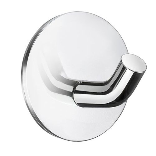 Smedbo Sideline Bathroom Wall Mount Self Adhesive Chrome Single Towel Hook, Zinc ()