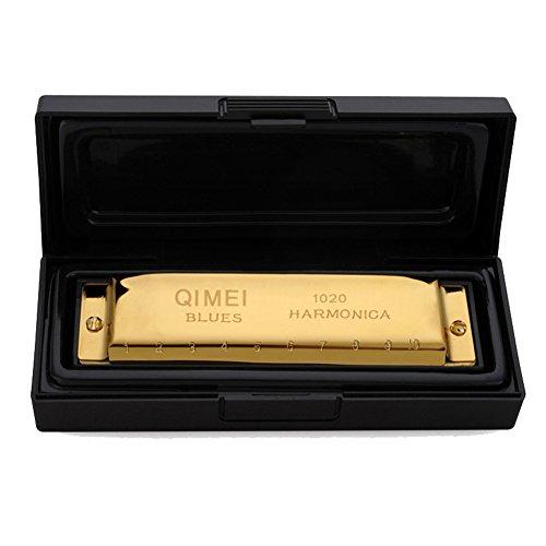QIMEI Harmonica 10 holes Key of C (Gold)