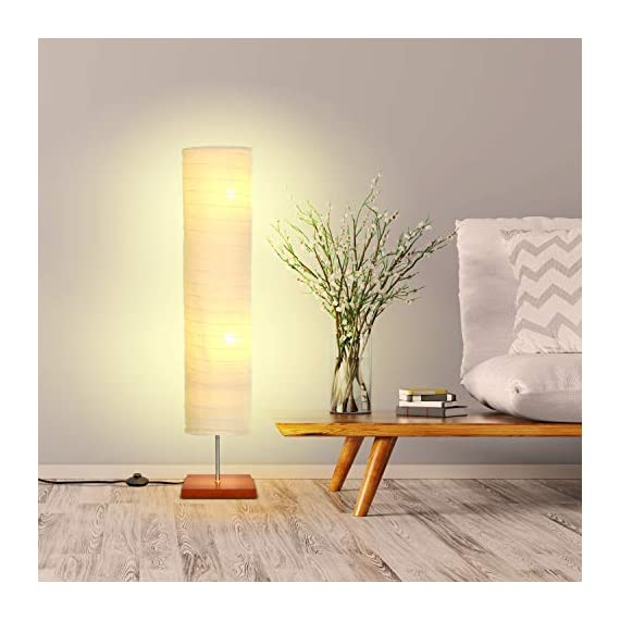 Brightech - Serenity LED Floor Lamp for Living Rooms & Bedrooms – Mid Century Modern Minimalist, Ambient Light – Perfect for Beside The Bed or Office, Corner Lamp - Havana Brown - GORGEOUS MODERN LAMP THAT LOOKS GREAT WITH ANY DÉCOR: The Serenity LED Floor Lamp looks beautiful amid contemporary, mid century modern, or industrial décor. It has an extended open top and a neutral linen cylinder shade that hovers over a symmetric square base (9 x 9 inches) of solid Havana Brown wood. The unique modern style and size of this lamp makes it the perfect corner, bedside, office, or living room lamp. BEAUTIFUL WARM LIGHT FOR HOME OR OFFICE: The Serenity Lamp lives up to its name! It gives off warm, serene light that will create a cozy and comfortable space for any room in your home or office. This lamp is the perfect couch or bedside lamp that gives off soft beautiful lighting to enlighten your bedroom, living room, den, nursery, meditation room, or office. This lamp does not have the glare of overhead lights or exposed bulbs as its neutral linen shade softens the light giving your room a wa LONG LASTING & ENERGY SAVING INDOOR LAMP: Included in the Tranquility's package are two 5 Watt power saving LED light so that you will never have to replace a bulb. The advanced 2,700K warm white LED technology with 550 lumens for each bulb allows this lamp to outshine lamps that depend on short lived, energy consuming standard halogen or incandescent bulbs. This LED lighting will endure for more than 20 years without burning out or overheating. - living-room-decor, living-room, floor-lamps - 41YOPr4X6aL. SS570  -