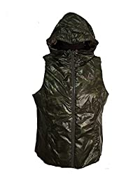 Gerry Womens Reversible Packable Down Filled Hooded Vest, Brown/Camo X-Large