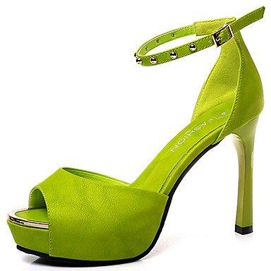 LvYuan Mujer Sandalias PU Verano Vestido Hebilla Tacón Stiletto Blanco Negro Verde Rosa 5 - 7 cms Green
